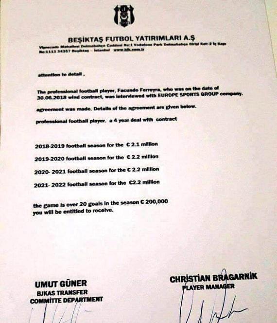 Феррейра подписал договор сБешикташем